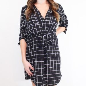 Express checkered black and white dress